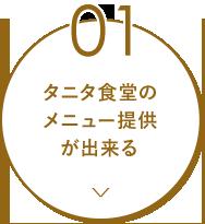 01 タニタ食堂のメニュー提供 が出来る
